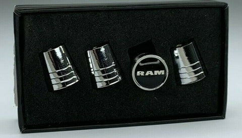 Image of Dodge Ram Valve Stem Caps - Tapered Chrome w/ Black - Set