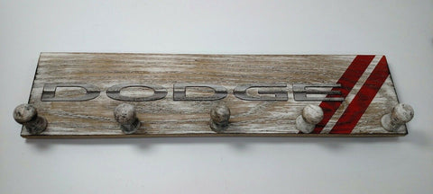 Image of Dodge Logo Coat Rack - Slat Wood Wall Plaque Sign-Live Fast Supply Company