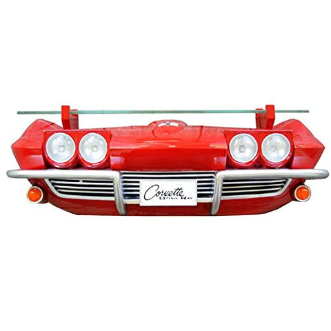 1963 Chevy Corvette Stingray Wall Shelf - Classic Red w/ LED Headlights - Main
