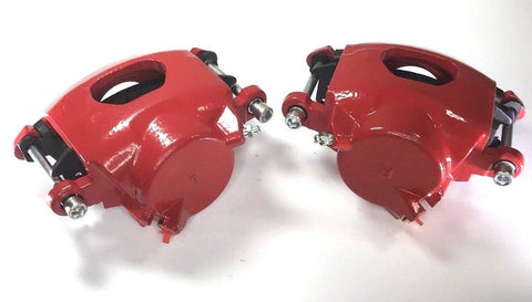 Image of Pair of GM Front Single Piston Brake Calipers with Pads - Red Powder Coated - Main