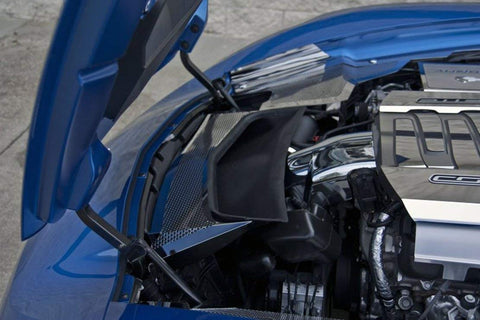 Image of 2014-2019 Corvette Vent Tube Cover - Polished Stainless Steel - Installed Blue