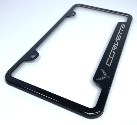 Chevrolet Corvette C7 License Plate Frame - Black with Logo (Main)