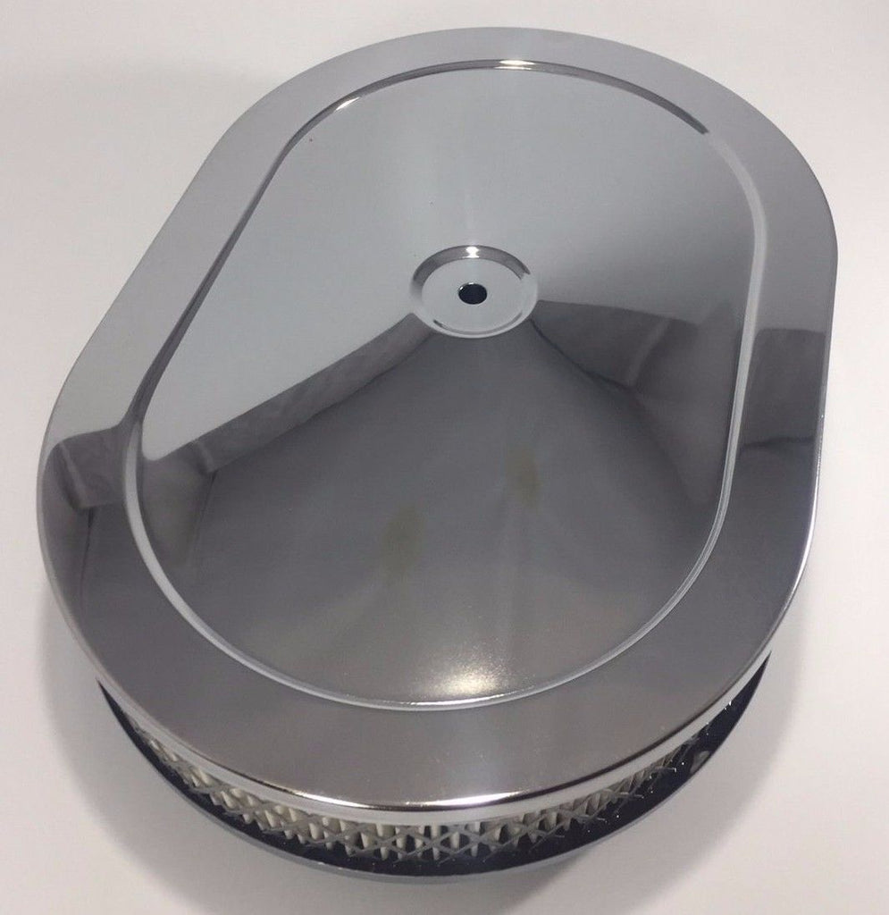 "4 Barrel Air Cleaner - Chrome 12"" x 2"" Oval with 5-1/8"" Neck - Top"