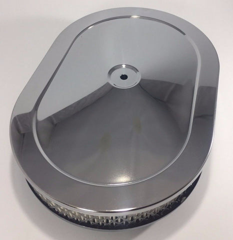 "Image of 4 Barrel Air Cleaner - Chrome 12"" x 2"" Oval with 5-1/8"" Neck - Top"