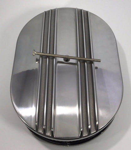 "Finned Polished Aluminum Air Cleaner Assembly - 4BBL 12"" Oval - Top"