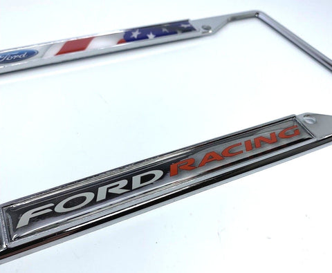 Ford Racing License Plate Frame - Chrome with American Flag (Side)