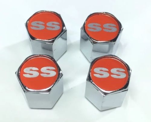 Chevy Super Sport Valve Stem Caps - Red with Silver (Set of 4) - Top
