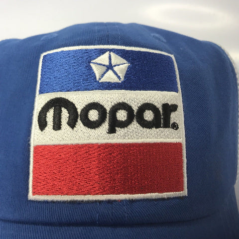 Image of Mopar Trucker Hat - Blue with 1972 Logo and White Mesh (Emblem)
