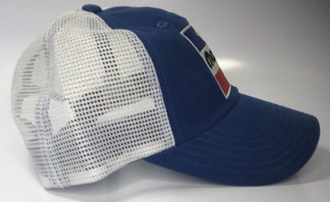 Image of Mopar Trucker Hat - Blue with 1972 Logo and White Mesh (Side)
