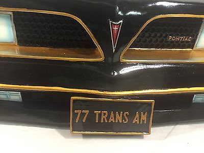 Image of 1977 Pontiac Firebird Wall Shelf - Black w/ Gold and LED Headlights - Front