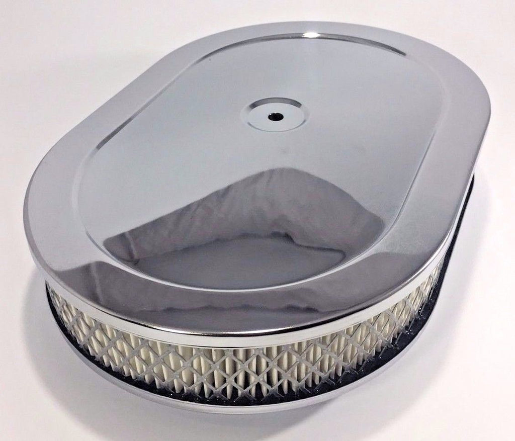 "4 Barrel Air Cleaner - Chrome 12"" x 2"" Oval with 5-1/8"" Neck - Main"