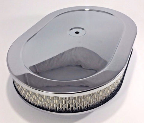 "Image of 4 Barrel Air Cleaner - Chrome 12"" x 2"" Oval with 5-1/8"" Neck - Main"