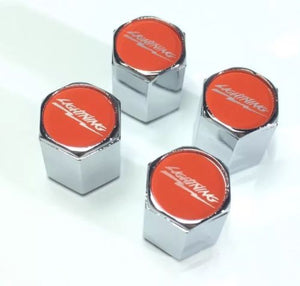 Ford Lightning Valve Stem Caps - Red with Silver (Set of 4) - Main