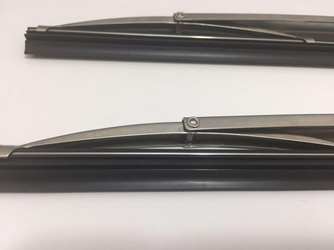 "Pair of Classic Windshield Wiper Blades - 12"" Polished Stainless Steel - Ends"