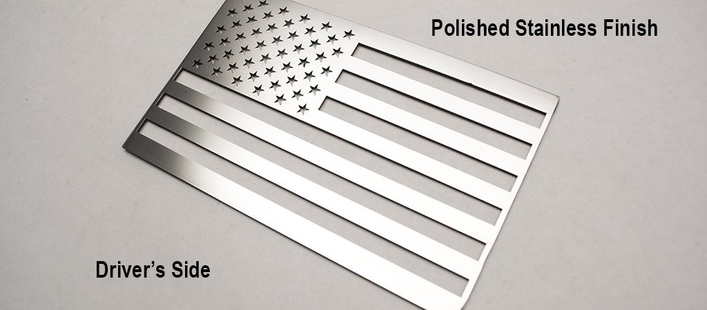 Pair of Stainless Steel American Flag Emblems - Polished - Main