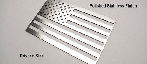 Image of Pair of Stainless Steel American Flag Emblems - Polished - Main