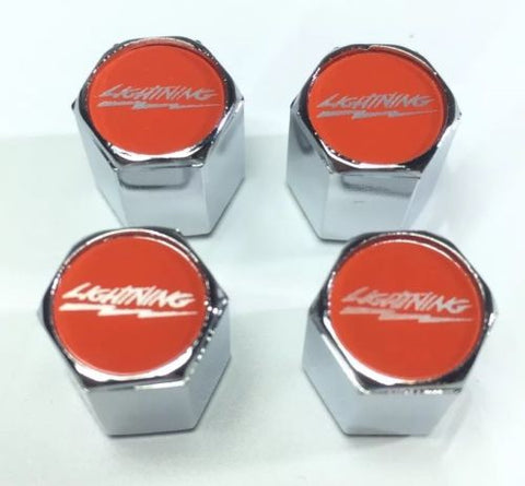 Ford Lightning Valve Stem Caps - Red with Silver (Set of 4) - Top