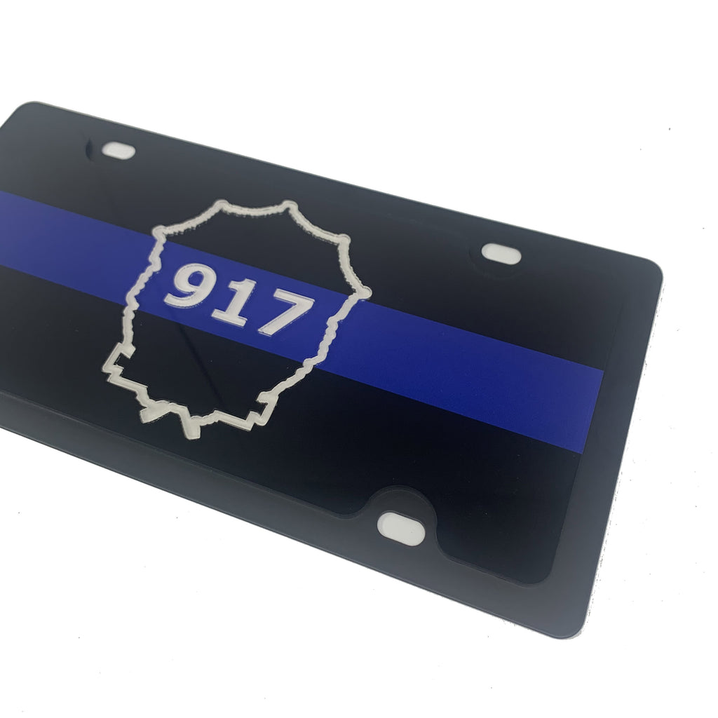 Officer Mosher #917 Thin Blue Line Memorial License Plate & License Plate Frame-Live Fast Supply Company