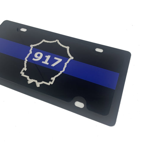 Image of Officer Mosher #917 Thin Blue Line Memorial License Plate & License Plate Frame-Live Fast Supply Company