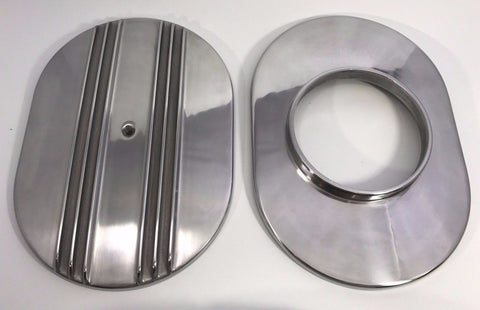 "Image of Finned Polished Aluminum Air Cleaner Assembly - 4BBL 12"" Oval - Top & Bottom"