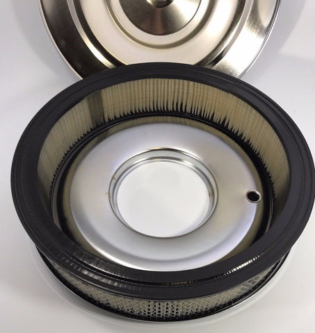 "14"" x 3"" Air Cleaner Assembly - 4 Barrel Chrome Top Flat Base - Filter"