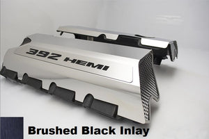 392 HEMI Fuel Rail Covers for 2011-2019 - Polished Stainless Steel w/ Color Inlay
