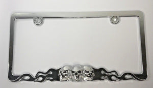 Skull Metal License Plate Frame - Chrome with Flames (Front)