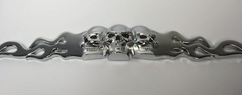 Skull Metal License Plate Frame - Chrome with Flames (Side)