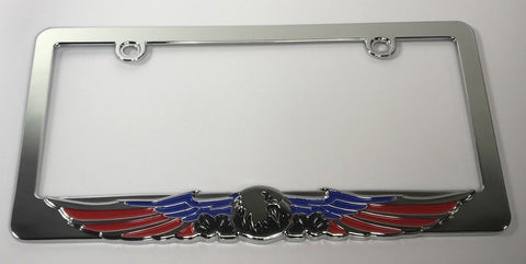 Eagle License Plate Frame - American Flag Red White Blue (Main)