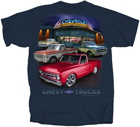 Image of Chevy C10 T-Shirt with 1967-1972 Trucks Dealer Scene - Main