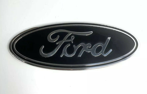 "Premium Front Grille Oval Emblem For 2015-2019 Ford F-150 Pickup - 9.5"" Black & Chrome-Live Fast Supply Company"