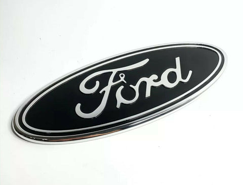 "Image of Premium Front Grille Oval Emblem For 2015-2019 Ford F-150 Pickup - 9.5"" Black & Chrome"