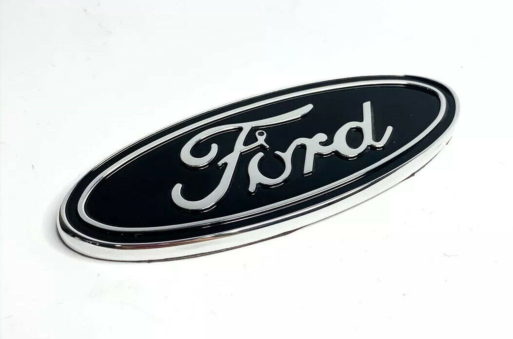 "Premium Billet Aluminum 5"" Inch Rear Ford Oval Emblem - Chrome & Black-Live Fast Supply Company"
