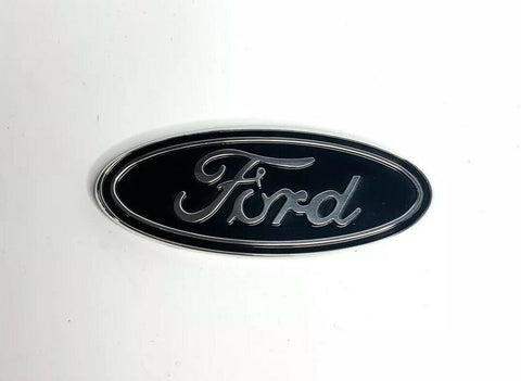 "Image of Premium Billet Aluminum 5"" Inch Rear Ford Oval Emblem - Chrome & Black-Live Fast Supply Company"