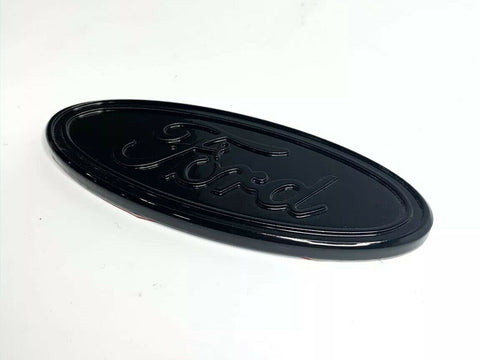 "Image of Premium Billet Aluminum 5"" Inch Rear Ford Oval Emblem - Gloss Black"