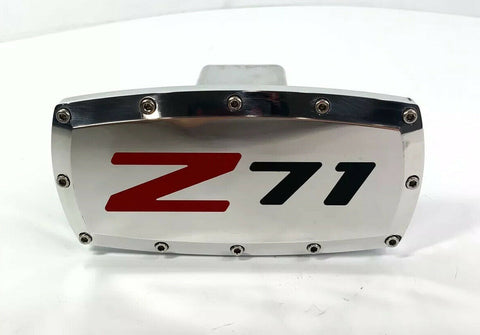 Chevy Silverado Z71 Emblem Tow Hitch Cover - Polished w/ Black Logo