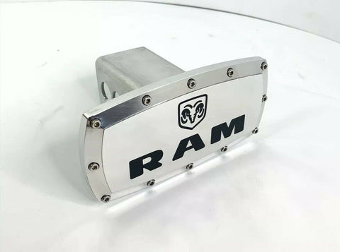Image of Dodge Ram Emblem Tow Hitch Cover - Polished w/ Black Logo-Live Fast Supply Company