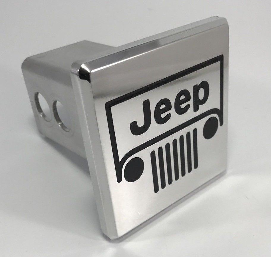 Jeep Grille Emblem Logo Hitch Cover - Polished Aluminum (Front)