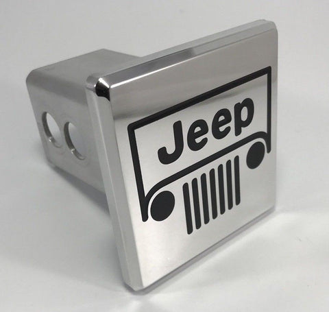 Image of Jeep Grille Emblem Logo Hitch Cover - Polished Aluminum (Front)