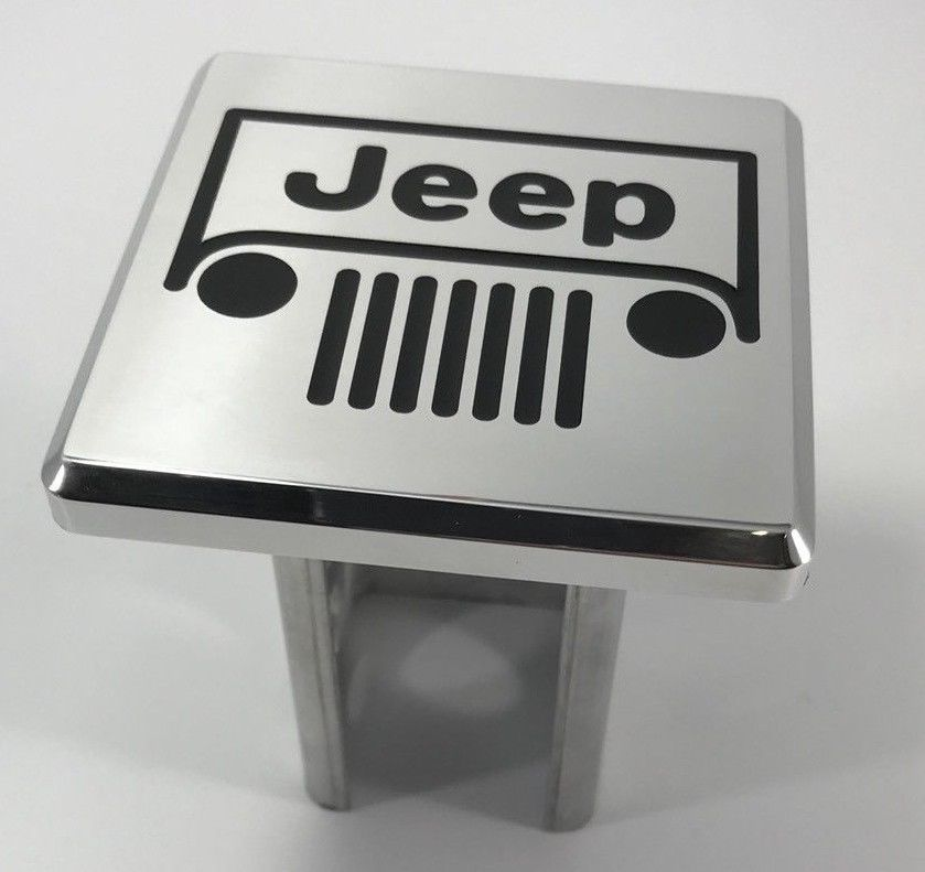 Jeep Grille Emblem Logo Hitch Cover - Polished Aluminum (Top)