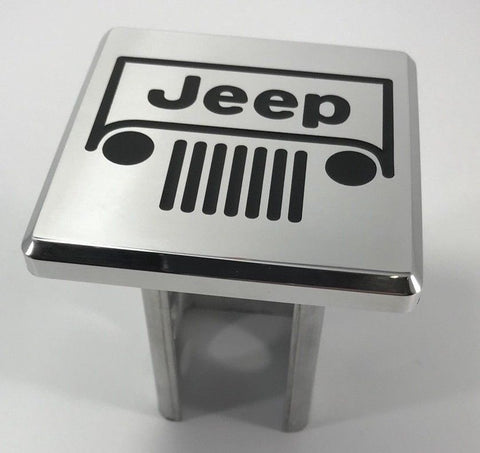 Image of Jeep Grille Emblem Logo Hitch Cover - Polished Aluminum (Top)
