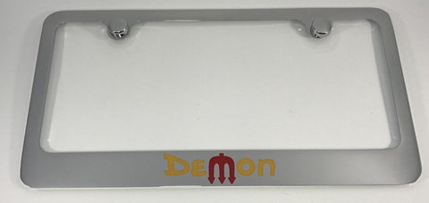 Dodge Demon License Plate Frame - Chrome with Logo (Main)