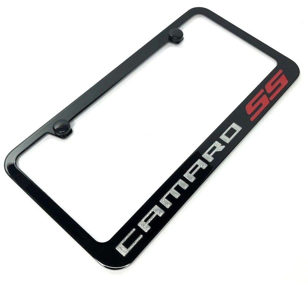 Chevrolet Camaro SS License Plate Frame - Black with Chrome Script (Main)