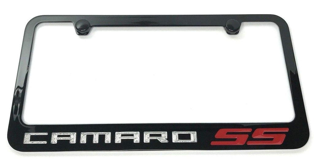 Chevrolet Camaro SS License Plate Frame - Black with Chrome Script (Front)