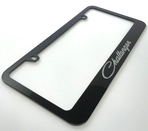 Dodge Challenger License Plate Frame - Black with Script (Main)