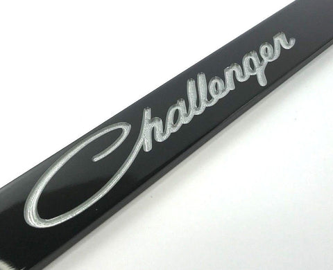 Image of Dodge Challenger License Plate Frame - Black with Script (Logo)