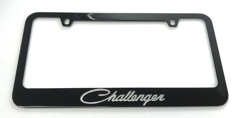 Dodge Challenger License Plate Frame - Black with Script (Top)