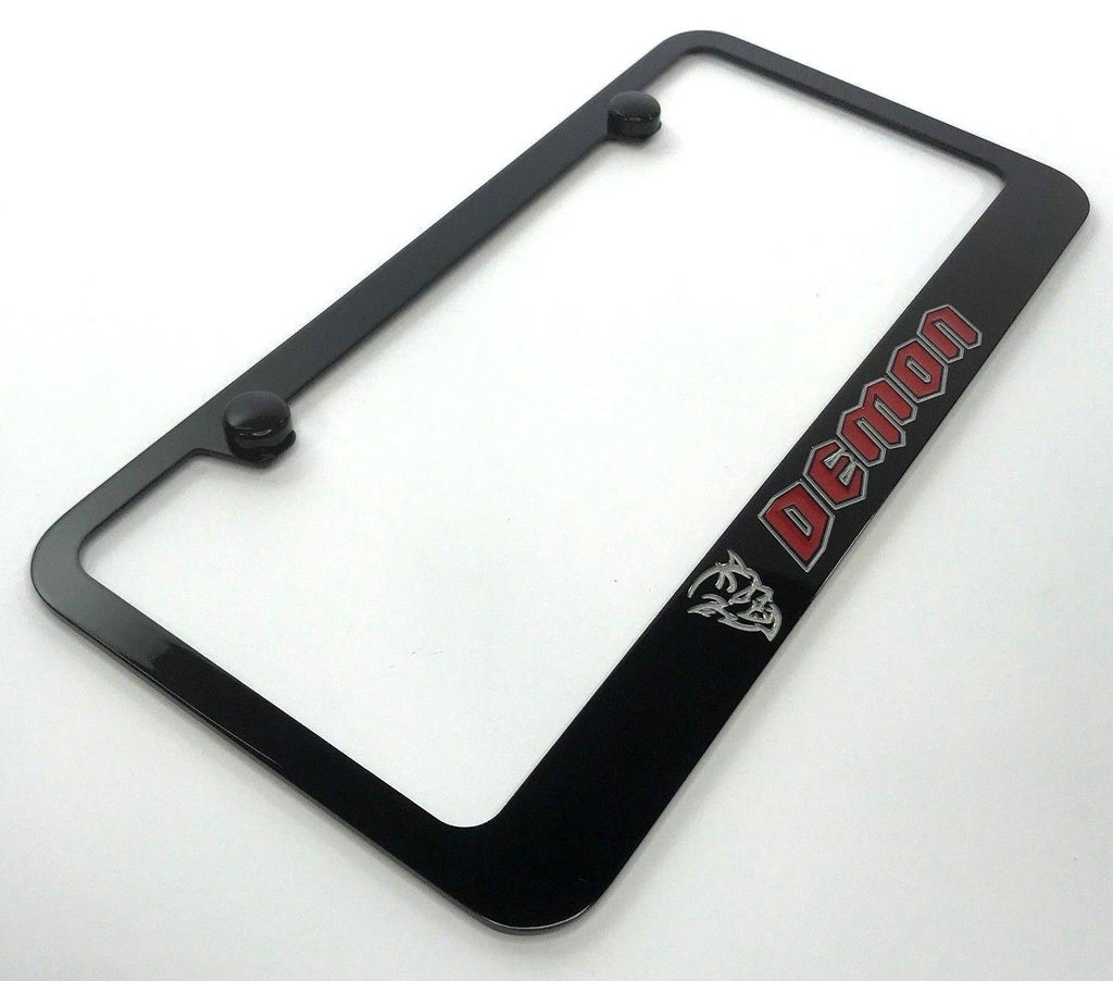 Dodge Demon License Plate Frame - Black with Red Script (Main)