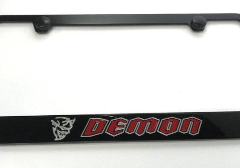 Image of Dodge Demon License Plate Frame - Black with Red Script (Logo)