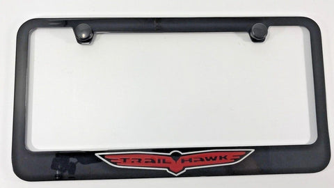 Image of Jeep TrailHawk License Plate Frame - Black with Red Logo (Main)